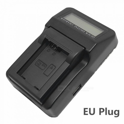 110-240V NP-FW50 Battery Charger with LCD Screen / USB for A7R NEX6 7 5N R A5000 A5100 A6000 - EU Plug