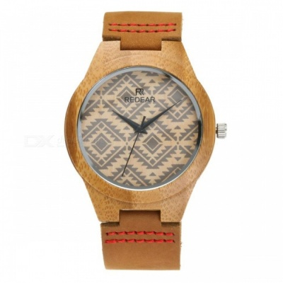 Redear 1448 Casual Wave Pattern Wooden Women Wrist Watch with Leather Strap