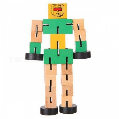 Wooden Transformation Robot Car Style Building Blocks Toy Gift for Kid Children - Green
