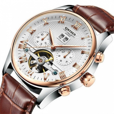KINYUED J012 30m Waterproof Men's Automatic Mechanical Watch w/ Leather Band - Brown