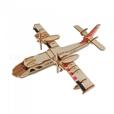 DIY Amphibious Bomber Style 3D Wooden Three-Dimensional Puzzle Educational Toy