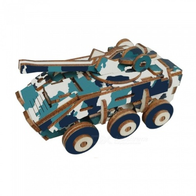 DIY Explosion-Proof Armored Car Style 3D Wooden Three-Dimensional Puzzle Educational Toy