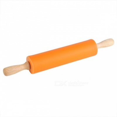 BSTUO 38cm Non-Stick Fondant Silicone Rolling Pin With Wooden Handle - Orange