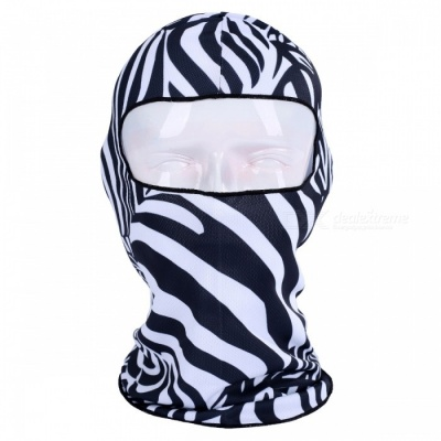 NUCKILY PK11(BB-14) Warm Windproof Breathable Full Face Mask Scarf Headdress for Winter Riding - Black + White