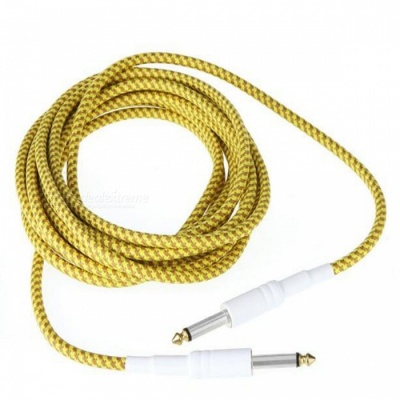 6.35mm to 6.35mm M-M Braided Audio Cable for Guitar - Yellow (5m)