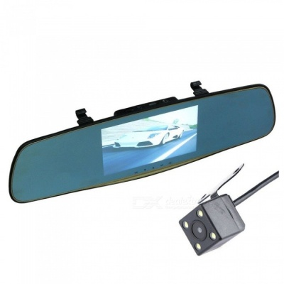 1080P Dual Lens IPS 5-Inch Large Screen Car Rearview Camera High-Definition Sony Lens Front Full HD 1296p