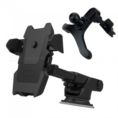 Multifunction Car Mount Holder Suction Cup Windscreen Air Vent 360 Degree Rotation Bracket for Cell Phone - Black