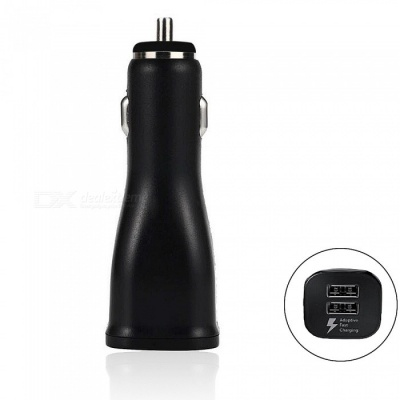 Mini Smile 25W QC2.0 Fast Quick Charge Dual USB Ports Car Charger Adapter - Black