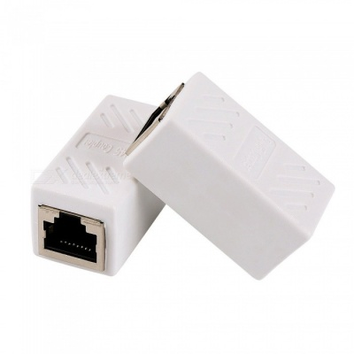 RJ45 Lan Connector Network Cable Adapter with Shield - white