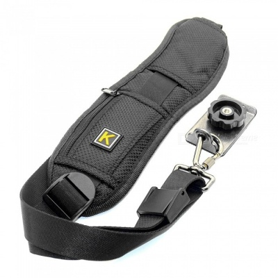 Photography Nylon 1/4 Screw Camera Convenient Single Shoulder Strap - Black
