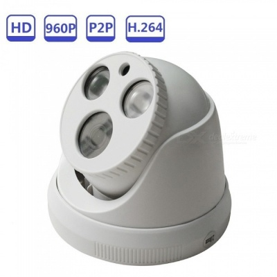Strongshine H.264 CMOS 1.3MP 960P Dome IPC Full HD Indoor IR Cut Night Vision Security IP Camera - Beige