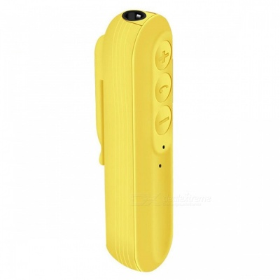 JEDX Collar Clip Type Wireless Bluetooth V4.1 Receiver for Audio Stereo System Earphone - Yellow