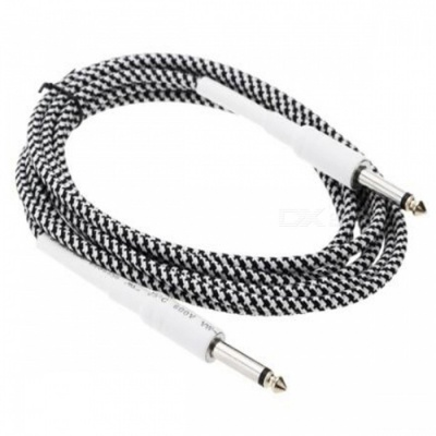 6.35mm to 6.35mm M-M Braided Audio Cable for Guitar - Black + White (2M)