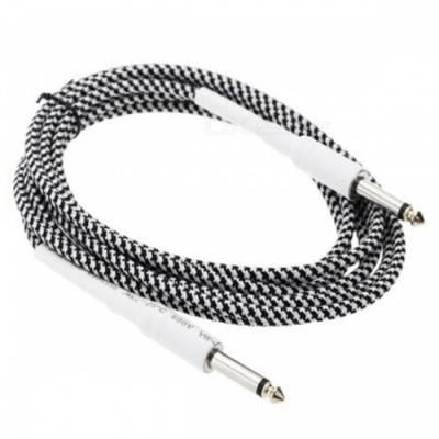 6.35mm to 6.35mm M-M Braided Audio Cable for Guitar - Black + White (3m)
