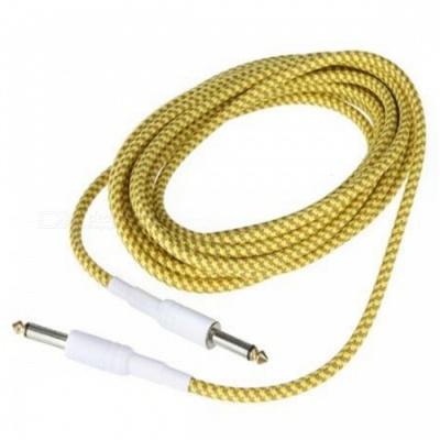 6.35mm to 6.35mm M-M Braided Audio Cable for Guitar - Yellow (3m)