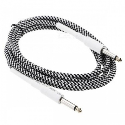 6.35mm to 6.35mm M-M Braided Audio Cable for Guitar - Black + White (8m)