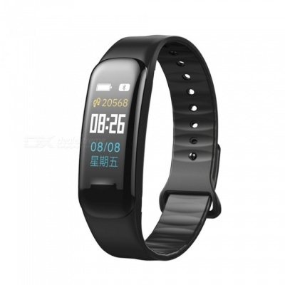 C1 Plus Color LCD Screen Smart Bracelet Fitness Tracker with Blood Pressure Blood Oxygen Heart Rate Monitoring - Black