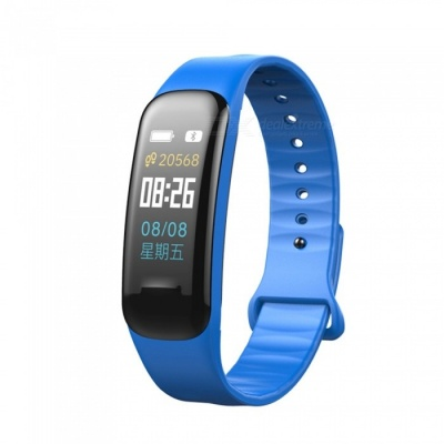 C1 Plus Color LCD Screen Smart Bracelet Fitness Tracker with Blood Pressure Blood Oxygen Heart Rate Monitoring - Blue