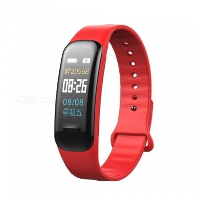 C1 Plus Color LCD Screen Smart Bracelet Fitness Tracker with Blood Pressure Blood Oxygen Heart Rate Monitoring - Red