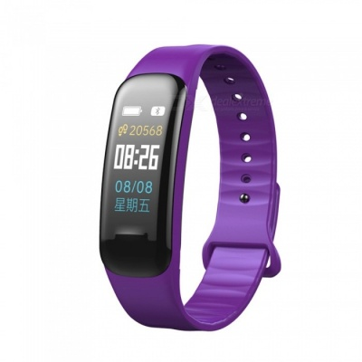C1 Plus Color LCD Screen Smart Bracelet Fitness Tracker with Blood Pressure Blood Oxygen Heart Rate Monitoring - Purple