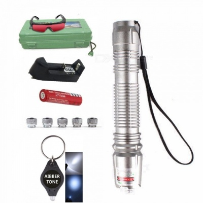 AIBBER TONE Green Laser Pen Pointer with 18650 Battery and Charger + Glasses + 5Pcs Star Caps, LED Keychain, Box