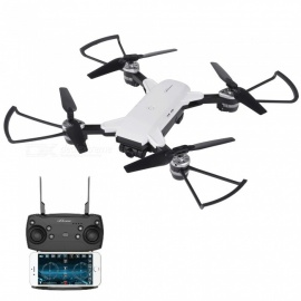 YH-19HW Wi-Fi FPV Foldable Pocket Mini RC Drone Helicopter with Camera, HD 720P Wide-Angle Quadcopter - White