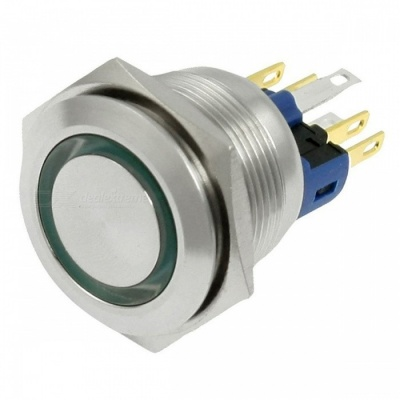 RXDZ 24V Green LED Stainless Push Button Switch 6 Screw Terminals