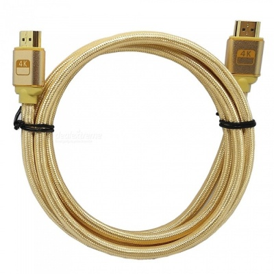 2K * 4K HDMI Male to Male Weaving 3D HD Line for PC / TV / Projector / Etc - Golden / 180cm