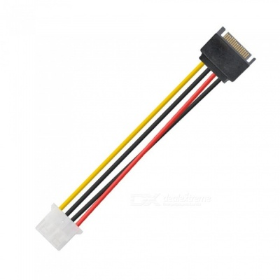 Kitbon 15-Pin SATA Male to Molex 4-Pin Power Cable Adapter