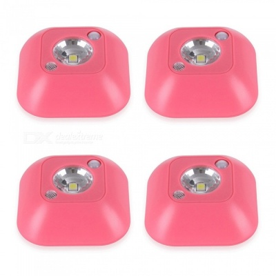 JIAWEN 4PCS Battery Powered LED Night Light Motion Sensor Adhesive Bedroom Lamp - Red