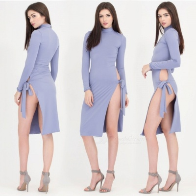 New Fashion Bandage Split Long-sleeved Sexy Nightclub Dress - Light Blue (L)