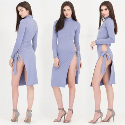 New Fashion Bandage Split Long-sleeved Sexy Nightclub Dress - Light Blue (M)