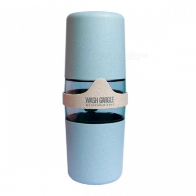 Natural Wheat Straw Material Portable Travel Double Wash Cup - Light Blue