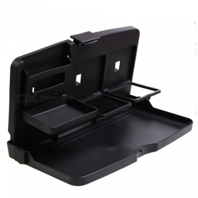 ZHAOYAO Car Meal Table Folding Multi-Layer Bracket, Dining Drink Tray Holder - Black