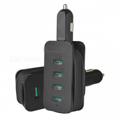 ZHAOYAO Universal Portable Smart Multi 4-Port USB Car Charger for All Smartphones, Tablets - Black
