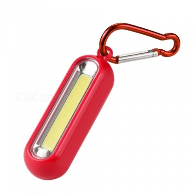 SPO Mini Portable COB LED Light Lamp with Keychain Clip - Red