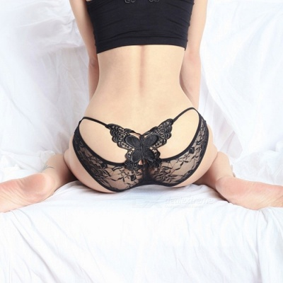 Fanshimite Women's Sexy Lace Translucent Butterfly Style Underpant - Black