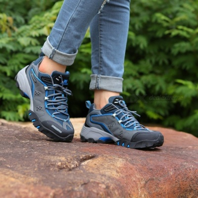 Ctsmart 8061 Outdoor Women's Large Size Hiking Shoes for Spring and Autumn - Gray Blue (38#)