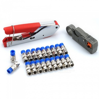 Coaxial F-Head Squeeze Pliers Crimping Pliers Set Stripping Pliers Coaxial Cable Cold Clamp