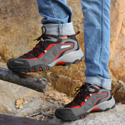 Ctsmart 8061 Outdoor Men's Large Size Hiking Shoes for Spring and Autumn - Black (44#)