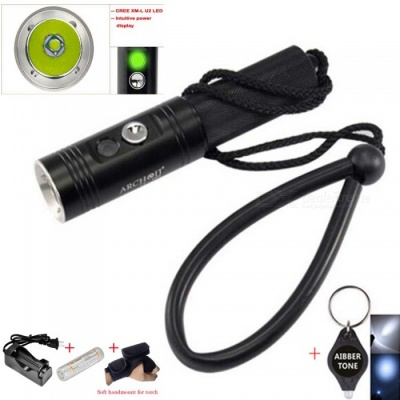 ARCHON V10S Waterproof XM-L U2 MAX 860LM Professional 3-Mode Diving LED Flashlight Torch with Battery + Charger