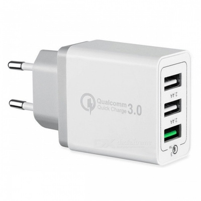 Mini Smile Universal 42W QC3.0 Quick Charge 3-Port Power Adapter Wall Fast Charger - White (EU Plug)