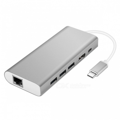 USB Type-C Hub Adapter with USB3.0/RJ45 Gigabit Ethernet/Type-C PD/HDMI - Silver