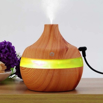 300ML Aroma Essential Oil Ultrasonic Diffuser Air Humidifier with Wood Veneer, 7-Color Changing LED Light for Office Home