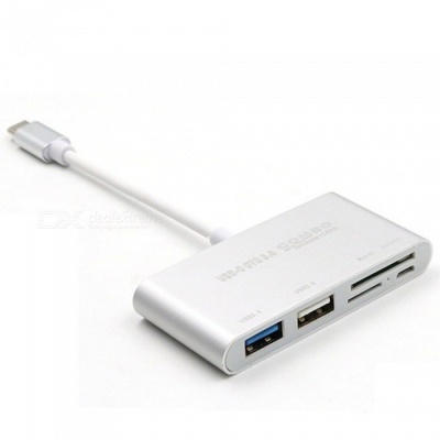Dayspirit 5 In 1 USB-C 3.1 Type-C to OTG USB 3.0 2.0 Hub with SD/TF Card Reader for Macbook Pro Air - Silver