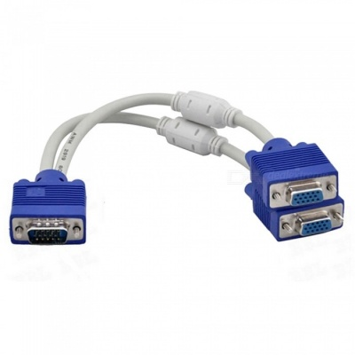 Dayspirit 1-to-2 VGA Dual 2 Monitor 15pin 2-Port Male to Female Splitter Cable