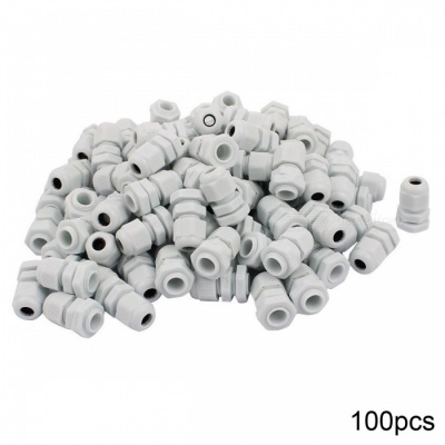 RXDZ White Plastic PG7 Water Resistance Cable Gland Fixing Connector Joints Fastener - 100PCS