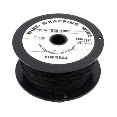 RXDZ Imported 90m 295Ft 200C Flexible PVDF Wire Wrapped Wire 30AWG Wire Cable Roll - Black