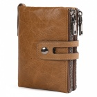 JIN BAO LAI Vintage Style Genuine Leather Men's Wallet, Large Capacity Double Zipper Fastener Purse - Coffee