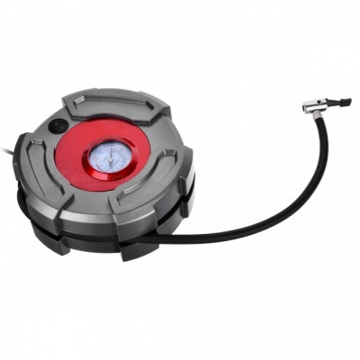 JEDX 12V Tire Inflator Air Pump Air Compressor for Car SUV Motor Bike Truck - Silver + Red